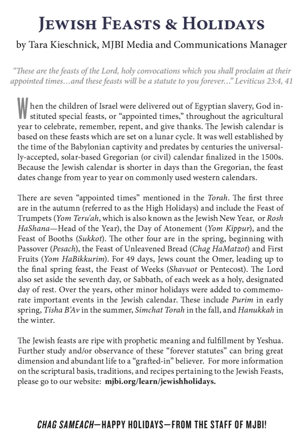 Jewish Holidays Calendar - Messianic Jewish Bible Institute